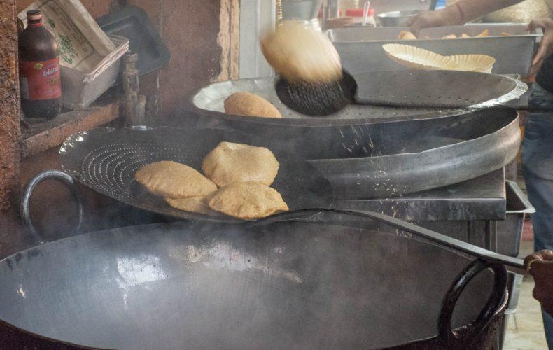 Hot puris - indian street food